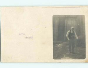1908 rppc OLD MAN WITH TWO CANES Postmarked Orange Massachusetts MA HM2514