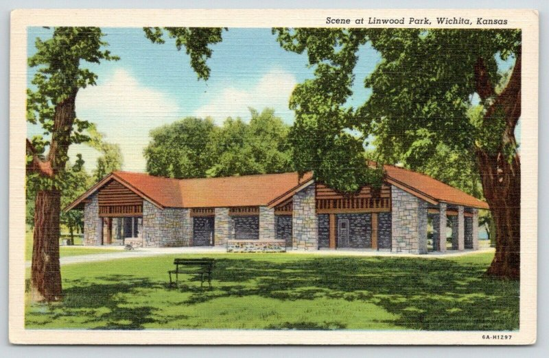 Wichita Kansas~Linwood Park~Rec Building~Lawn Shaded by Trees~1940s