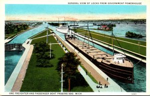 Michigan Soo General View Of Locks From Government Powerhouse Curteich