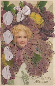 Many Happy Returns, 1900-10s; Girls head in glittery flower with ribbon