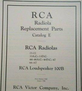 RCA Radiola E Replacement Parts Catalog Loudspeaker Vintage Radio Victor 1930