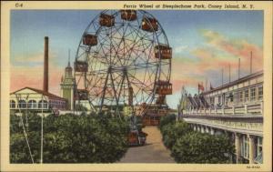 Coney Island NY Ferris Wheel Steeplechase Park Linen Postcard