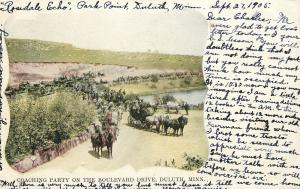Duluth Minnesota~Boulevard Drive~Coaching Party~1905 Postcard