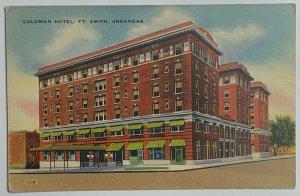VTG Old Linen Era Postcard Goldman Hotel Fort Smith, Arkansas Unused