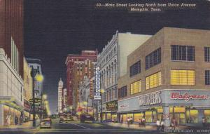 Tennessee Memphis Main Street Looking North From Union Avenue Curteich