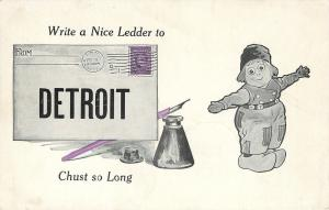 Detroit~Dutch Boy with Wooden Shoes Next to Stamped Envelope~Ink Well 1910
