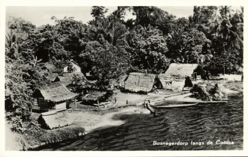 suriname, Native Maroon Village along the Cottica (1950s) RPPC