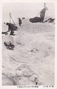 Snow covered town , Japan , 20-40s , People hauling snow away