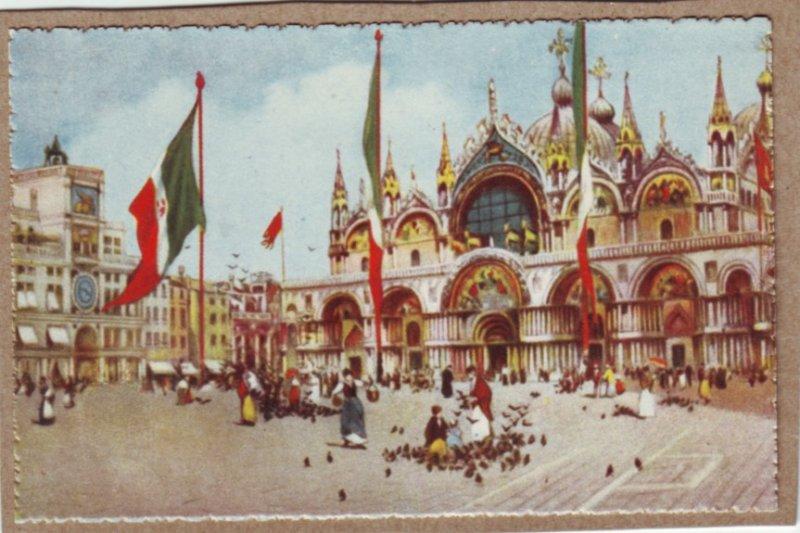 P1335 vintage colorful art postcard unused venezia chiesa di s marco italy