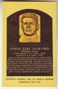 P71 JL postcard 1957 samuel e crawford baseball hall of fame