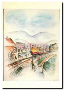 Modern Postcard Somewhere in France railcar morning