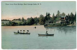 Knights to Sparkers, New York 1915 used Postcard, Boating on Caroga Lake