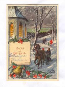 New Year (Gott nytt ar!) , Artist Curt NYSTROM, PU-1952 ; Horse drawn sled #6