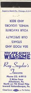 Allentown/Hokendauqua,Penn/PA Matchcover,Roy Snyder's Tavern