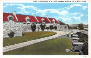 Fort Ticonderoga, N.Y., South Barracks from Flag Bastion, Early Postcard, Unused