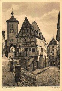 Rothenburg ob der Tauber Plonlein Gate Tower Clock Postcard