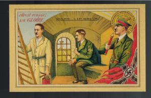 Mint WW2 France Anti Occupation Postcard Hitler in Prison