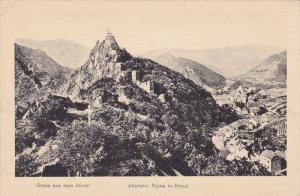 Gruse aus dem Ahrtal, Altenahr, Ruine m.Kreuz, Rhineland-Palatinate, Germany,...