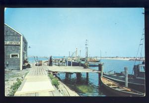 Block Island, Rhode Island/RI Postcard, Boats At Dock, Old Harbor, 1954!