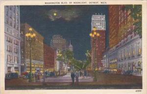 Michigan Detroit Washington Blvd By Moonlight 1950