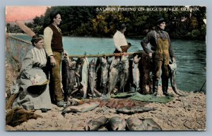 ROGUE RIVER OR SALMON FISHING ANTIQUE POSTCARD
