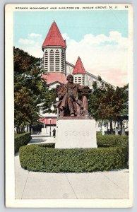 Ocean Grove NJ~Close Up Ellwood Stokes Monument~1st Camp Meeting President~1920s