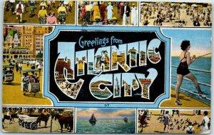 GREETINGS From ATLANTIC CITY NJ Multi-View Postcard w/ 4 Scenes KROPP Linen 1949