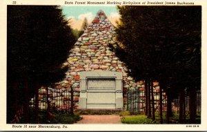 Pennsylvania Mercersburg State Forest Monument Marking Birthplace Of Presiden...