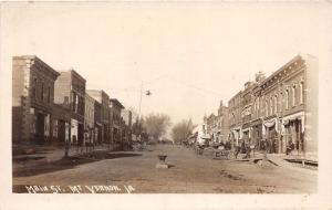 F1/ Mount Vernon Iowa Real Photo RPPC Postcard c1910 Main Street Stores