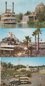 Transportation in Disneyland 3x Official 1970s Postcard Bundle