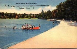 Massachusetts Lake Chargoggag Kildeer Island Sandy Shore 1942