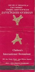Andreas Chelsea Italian 1970s SW3 Restaurant London Matchcover Matchbox Label