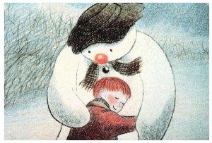 Merry Christmas! Snowman and Child, Christmas Holiday Postcard