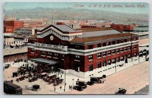 Seattle Washington~OWR&N Station~Horse & Buggies-Vintage Cars Parked~c1910