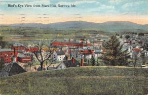 Norway Maine (View from Pikes Hill)~Houses-School?-Bare Tree~Mountains Bknd~1930
