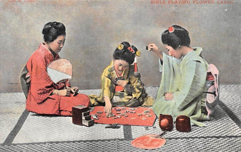 Japan Traditional Native Geishas Girls Playing Flower Cards