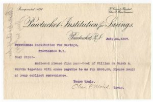 1897 Letterhead, PAWTUCKET INSTITUTION for SAVINGS,  Pawtucket, RI