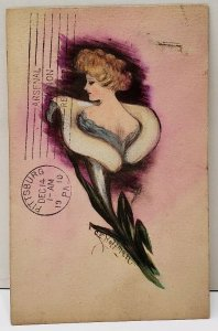 Victorian Beauty Emerging From Lilly Flower Shinn Signed CE  Hoffman Postcard F4