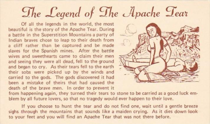 Arizona Apache Junction Mining Camp Restaurant Legend Of The Apache Tear