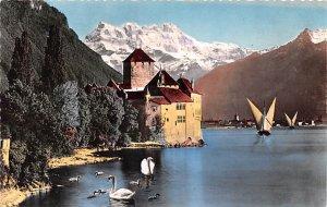 Lac Leman Chateau de Chillon et les Dents du Midi Switzerland Unused