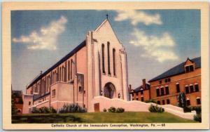 Washington PA Postcard Catholic Church of the Immaculate Conception Linen