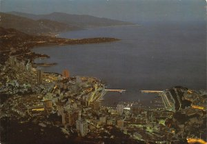 Vintage 1984 Postcard, Monaco at Night with Italy in the Background AX7