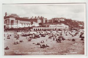 P1101 vintage RPPC unused valentine,s sands from pier beach east bournemouth UK