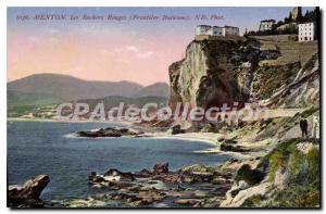 Postcard Old Red rocks Menton Border Italian