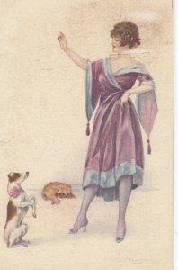 Art Deco ; BOMPARD ; Woman & Begging dog , 1910-20s
