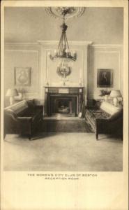 Boston MA Women's City Club Reception Room c1920s Postcard
