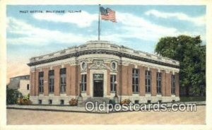 Belvidere, IL USA,  Post Office Postcard, Postoffice Post Card Old Vintage An...