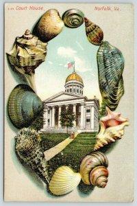 Norfolk Virginia~City Hall in Embossed Seashell Border~1908 Langsdorf