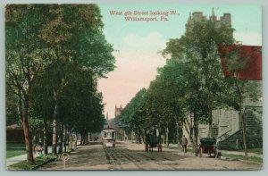 Williamsport Pennsylvania~West 4th Street West~Trolley-Man on Bicycle~1910
