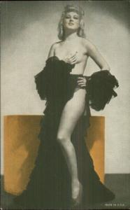 Semi-Nude Sexy Showgirl Pin-Up Exhibit Mutoscope Card - Long Robe Hanging Off